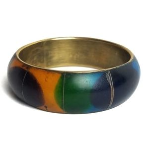 Vintage Abstract Wood Brass Bangle Bracelet